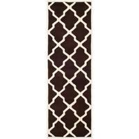 Safavieh Handmade Moroccan Chatham Dark Brown/ Ivory Wool Rug (2'3 x 7') - 2'3 x 7'