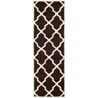 Safavieh Handmade Moroccan Chatham Dark Brown/ Ivory Wool Rug - 2'3 x 9'