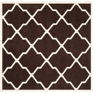 Safavieh Handmade Moroccan Chatham Dark Brown/ Ivory Wool Rug (7' Square)