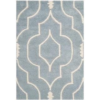 Safavieh Handmade Moroccan Chatham Blue/ Ivory Wool Area Rug (3' x 5')