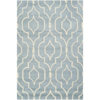 Safavieh Contemporary Handmade Moroccan Chatham Blue/ Ivory Wool Rug (4' x 6')