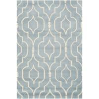 Safavieh Contemporary Handmade Moroccan Chatham Blue/ Ivory Wool Rug - 4' x 6'