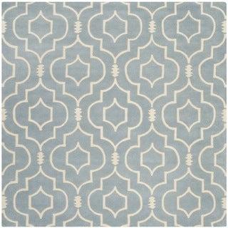 Safavieh Handmade Moroccan Chatham Blue/ Ivory Wool Rug (7' Square)