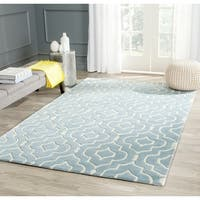 "Safavieh Contemporary Handmade Moroccan Chatham Blue/ Ivory Wool Rug - 8'9"" x 12'"