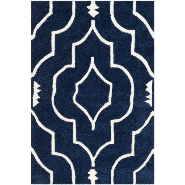 Safavieh Handmade Moroccan Chatham Dark Blue/ Ivory Wool Rug (2' x 3') - 2' x 3'