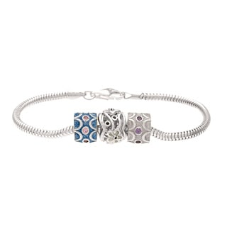 Sterling Silver Crystal and Enamel Bead Charm Bracelet