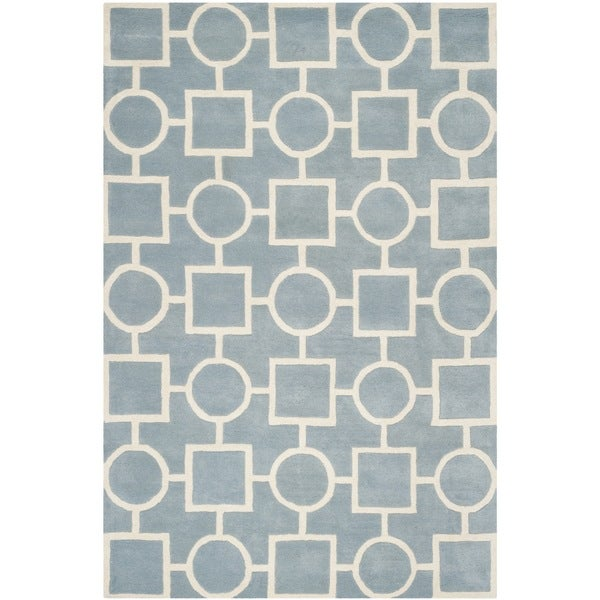 Safavieh Handmade Moroccan Chatham Blue/ Ivory Wool Rug - 8'9 x 12'