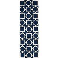 Safavieh Handmade Moroccan Chatham Dark Blue/ Ivory Wool Rug - 2'3 x 7'