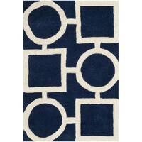 Safavieh Handmade Moroccan Chatham Dark Blue/ Ivory Wool Area Rug - 3' x 5'