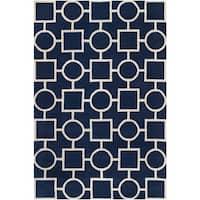 Safavieh Handmade Moroccan Chatham Squares-and-circles Dark Blue/ Ivory Wool Rug - 5' x 8'