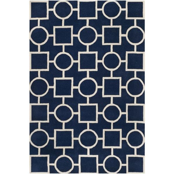 Safavieh Handmade Moroccan Chatham Dark Blue/ Ivory Wool Rug - 8' x 10'