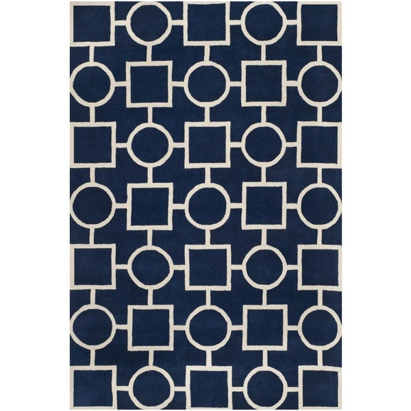 Safavieh Handmade Moroccan Chatham Dark Blue/ Ivory Wool Area Rug - 8'9 x 12'