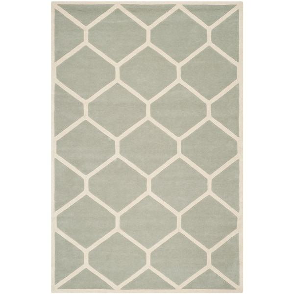 Safavieh Handmade Moroccan Chatham Gray/ Ivory Wool Rug with .5-inch Pile - 8' x 10'