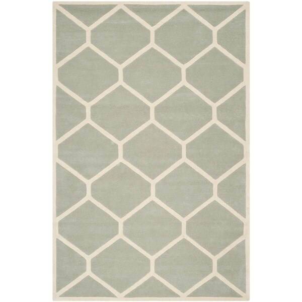 Safavieh Handmade Moroccan Chatham Gray/ Ivory Geometric Wool Rug - 8'9 x 12'