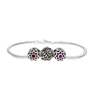 Sterling Silver Pink and Yellow Crystal Flower Bead Charm Bracelet