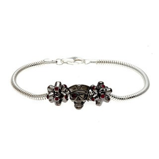Sterling Silver Red Crystal Pirate Bead Charm Bracelet