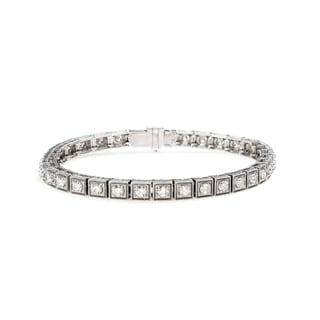 18k Gold 3 1/5ct TDW Diamond Antiqued Tennis Bracelet (G-H, VS1-VS2)
