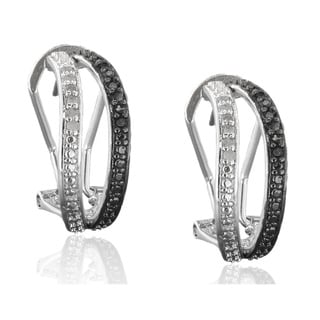 Finesque Sterling Silver 1/4 carat TDW Black and White Diamond Earrings (I2,I3)