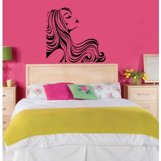 'Sexy Young Girl with Lovely Hair' Wall Vinyl Art