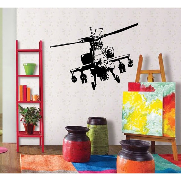Shop \'Gun Helicopter\' Vinyl Wall Decor Decal - Free Shipping On ...