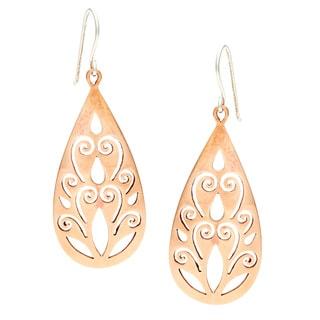 Copper Teardrop Cut-out Dangle Earrings (Nepal)