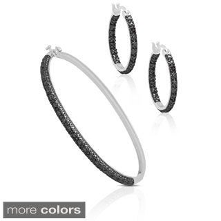 Finesque Sterling Silver 1/4ct TDW Diamond Bangle and Hoops Set