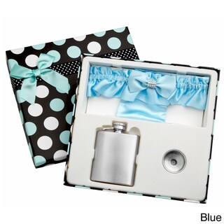 Top Shelf 3-Ounce Blue Garter Belt Flask for Weddings with Gift Box