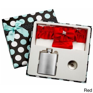 Top Shelf 3-Ounce Blue Garter Belt Flask for Weddings with Gift Box (Option: Red)