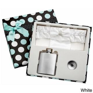 Top Shelf 3-Ounce Blue Garter Belt Flask for Weddings with Gift Box (Option: White)