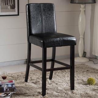 Shop Empire Black Bicast Leather Bar Stools Set Of 2