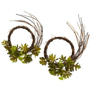 Mixed Succulent Wreaths (Set of 2)