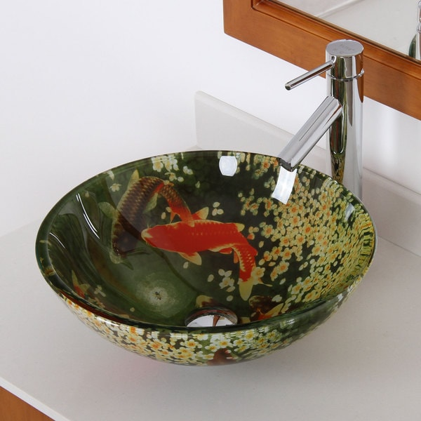 Elite N1252659  'Koi and Lily Pond' Tempered Glass Bathroom Vessel Sink With Faucet Combo