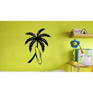 'Surf Board Palm Tree' Vinyl Wall Art