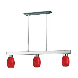 Players 3-light Red Glass Fixture