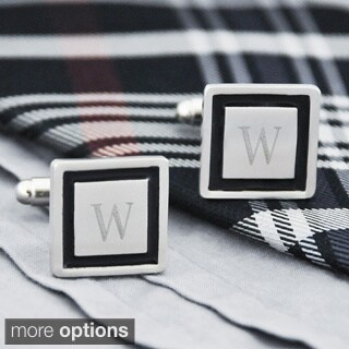 Silvertone Personalized Black Border Designer Cuff Links