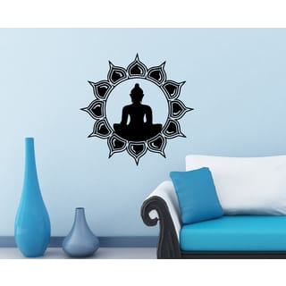 'Buddha Meditation Lotus' Vinyl Wall Art|https://ak1.ostkcdn.com/images/products/8352408/8352408/Buddha-Meditation-Lotus-Vinyl-Wall-Art-P15661389.jpg?impolicy=medium