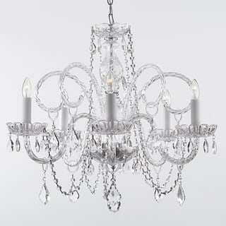 Gallery ceiling lights for less overstock gallery venetian style all crystal 5 light chandelier aloadofball Image collections