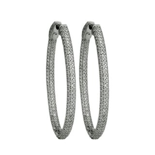 Sterling Silver and Cubic Zirconia Inside-Out Oval Hoop Earrings