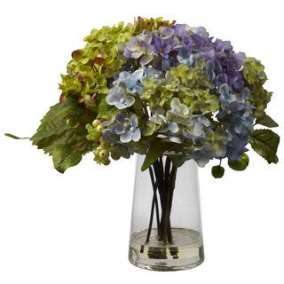 Hydrangea and Glass Vase Arrangement Decorative Plant