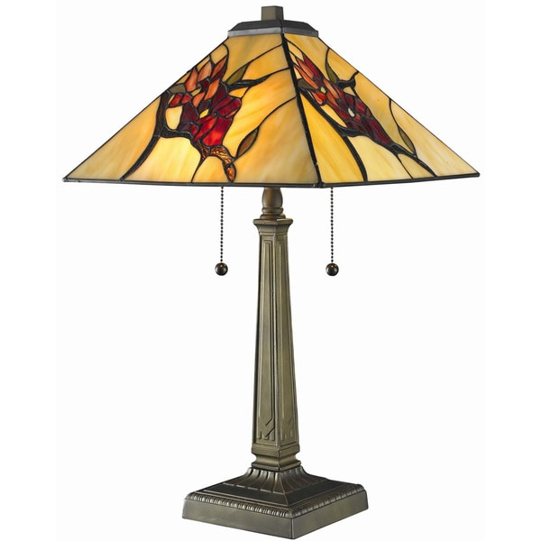 tiffany style floral mission table lamp free shipping today. Black Bedroom Furniture Sets. Home Design Ideas