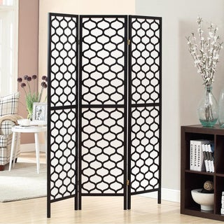 black frame 3 panel lantern design folding screen