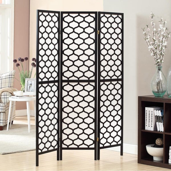 Black Frame 3-panel 'Lantern Design' Folding Screen