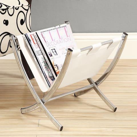 White Leather-look/ Chrome Metal Magazine Rack