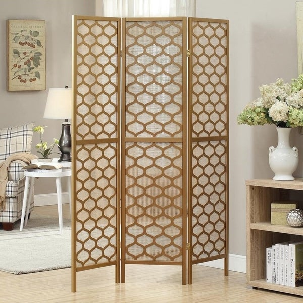 Gold Frame 3 Panel X27 Lantern Design Folding Screen