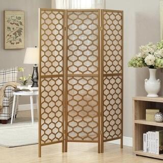 Gold Frame 3-panel 'Lantern Design' Folding Screen