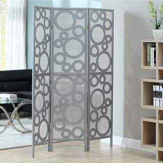 Silver Frame 3-panel 'Bubble Design' Folding Screen|https://ak1.ostkcdn.com/images/products/8352567/8352567/Silver-Frame-3-panel-Bubble-Design-Folding-Screen-P15661508.jpg?impolicy=medium