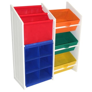 RiverRidge Kids Super Storage with 3 Primary Colored Bins, Book Holder and 6-slot Cubby