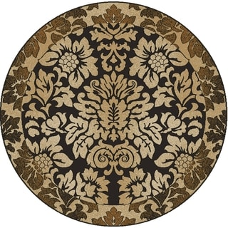 Admire Home Living Amalfi Paradise Chocolate Brown Area Rug (5'3 Round)