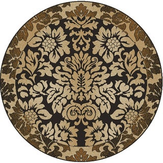 Admire Home Living Amalfi Paradise Chocolate Brown Area Rug (5'3 Round) - 5'3 x 5'3