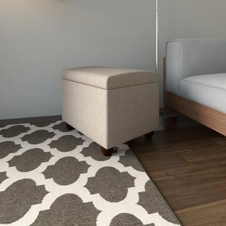 HomePop Medium Tan Linen Storage Ottoman